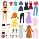 Klär den härliga flickan för kläderkvinnavektorn och upp, eller kläder med modeflåsanden klär eller skor illustrationgirlieuppsät Arkivbilder
