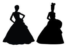 klär tappningkvinnor för lyx två Arkivfoton