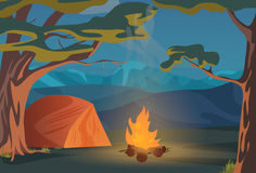 Klättra, gå, utomhus- campa rekreationlandskap för fotvandra eller för sportar, illustration för naturaffärsföretagsemester trä vektor illustrationer