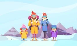 Klättra i berg familjtecknade filmen stock illustrationer