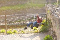 Klättra på staketet royaltyfria foton