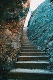 Klättra trappa med två stora stenar på sidorna Royaltyfri Foto