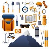 Klättra utrustningsymbolsuppsättningen, tecknad filmstil royaltyfri illustrationer
