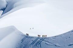 Klättrare i Mont Blanc Arkivfoto