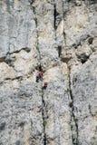 Klättrare på alpinistrutten royaltyfria foton