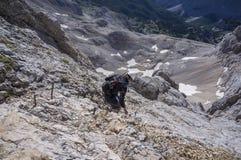 Klättring Mt Triglav Royaltyfri Foto