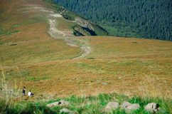 Klättring till överkanten av berget Royaltyfri Foto