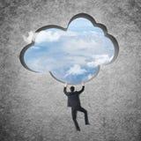 Klättring till molnet arkivbilder