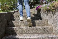 Klättringar för ung kvinna på trappa royaltyfri foto