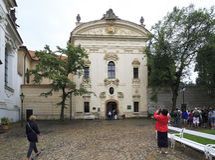 Klösterliche Bibliothek. Strahov-Kloster Stockfoto