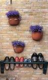 Klötze mit violetten Blumen Lizenzfreie Stockfotos