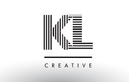 KL K L Black and White Lines Letter Logo Design. Royalty Free Stock Photos
