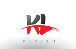 KL K L Brush Logo Letters with Red and Black Swoosh Brush Front Stock Image