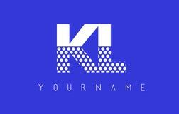 KL K L Dotted Letter Logo Design with Blue Background. Royalty Free Stock Image
