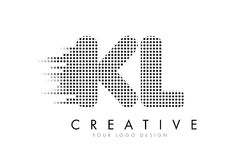 KL K L Letter Logo with Black Dots and Trails. Royalty Free Stock Photography