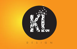KL K L Logo Made of Small Letters with Black Circle and Yellow B Stock Photo