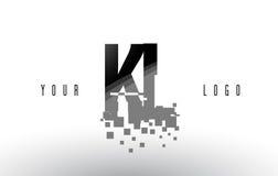 KL K L Pixel Letter Logo with Digital Shattered Black Squares Stock Images