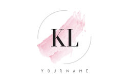 KL K L Watercolor Letter Logo Design with Circular Brush Pattern Royalty Free Stock Photography