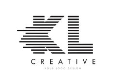 KL K L Zebra Letter Logo Design with Black and White Stripes Stock Photo