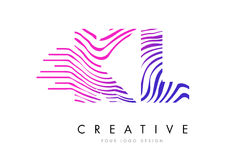 KL K L Zebra Lines Letter Logo Design with Magenta Colors Stock Images