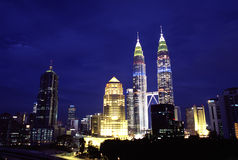 KL linii horyzontu nocy widok, Kuala Lumpur, Malezja Fotografia Royalty Free