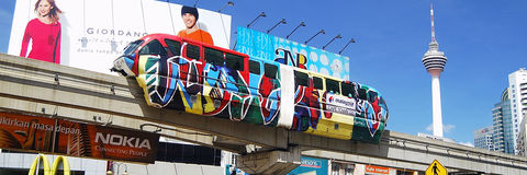 Kl Monorail and Kl Tower. Kuala Lumpur, Malaysia Stock Photo