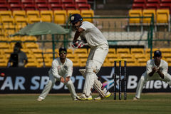 KL Rahul Cricketer. Cricketer KL Rahul bats during the ongoing Irani Cup game in Bengaluru Stock Photos