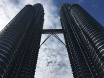 The KL towers. The Petronas towers from the ground Stock Photos