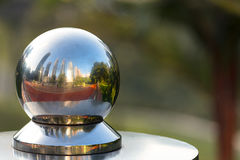 KL twin towers reflecting in a metal sphere. Royalty Free Stock Photography