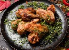 Klaar gemaakte gebraden het voedselfotografie van kippenvleugels Stock Afbeelding