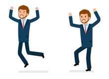 Klaar om de reeks van de karakterverwezenlijking te gebruiken Gelukkige zakenman, zakenman in woede Stock Afbeelding