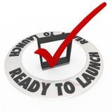 Klaar om de Zaken van Controlemark box words prepared new te lanceren Stock Foto