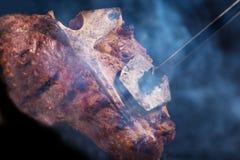 Klaar Rib,  lapje vlees op welke brandwonden het stigma stock fotografie