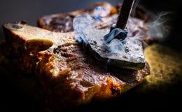 Klaar Rib,  lapje vlees op welke brandwonden het stigma royalty-vrije stock foto