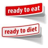 Klaar te eten en geplaatste dieetstickers Stock Fotografie