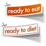 Klaar te eten en geplaatste dieetstickers Stock Foto