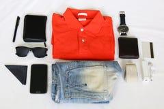 klaar uit te gaan reeks - kleding en acessories Stock Afbeelding