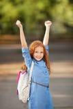 Klaar voor de eerste dag van school Stock Foto