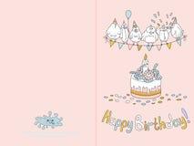 Klaar voor de kaartontwerp van de druk gelukkig verjaardag met grappige vogels Vector illustratie Gevoelig blauw Stock Afbeelding