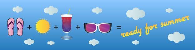 Klaar voor de zomer, vectorillustratie - kopbal/banner Royalty-vrije Stock Fotografie