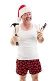 Klaar voor Kerstmis - Papa met Hulpmiddelen Stock Fotografie