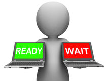 Klaar wacht Laptop betekent Voorbereidingen getroffen en Wachtend Stock Afbeeldingen