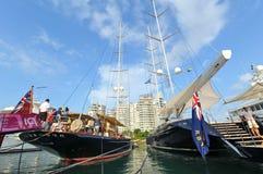 从Klaasen造船厂的S/Y Shamoun在新加坡游艇展示的显示的2013年 库存照片