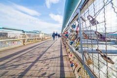 Kladka Ojca Bernatka桥梁在克拉科夫 库存照片