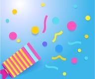 Klaff med konfettier papercutorigamistil royaltyfri illustrationer