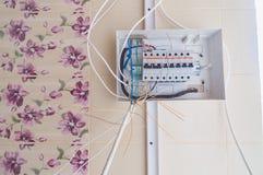 Klaff med strömbrytareelektricitet Arkivfoto