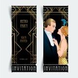 Klaff20-talstil Tappningparti eller tematisk bröllopinbjudan stock illustrationer