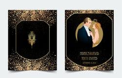 Klaff20-talstil Tappningparti eller tematisk bröllopinbjudan vektor illustrationer