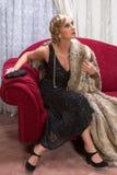 Klaffkvinna i charleston stil arkivfoto