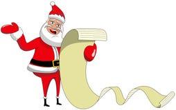 Klagande önskande lista för Santa Claus läsning Fotografering för Bildbyråer